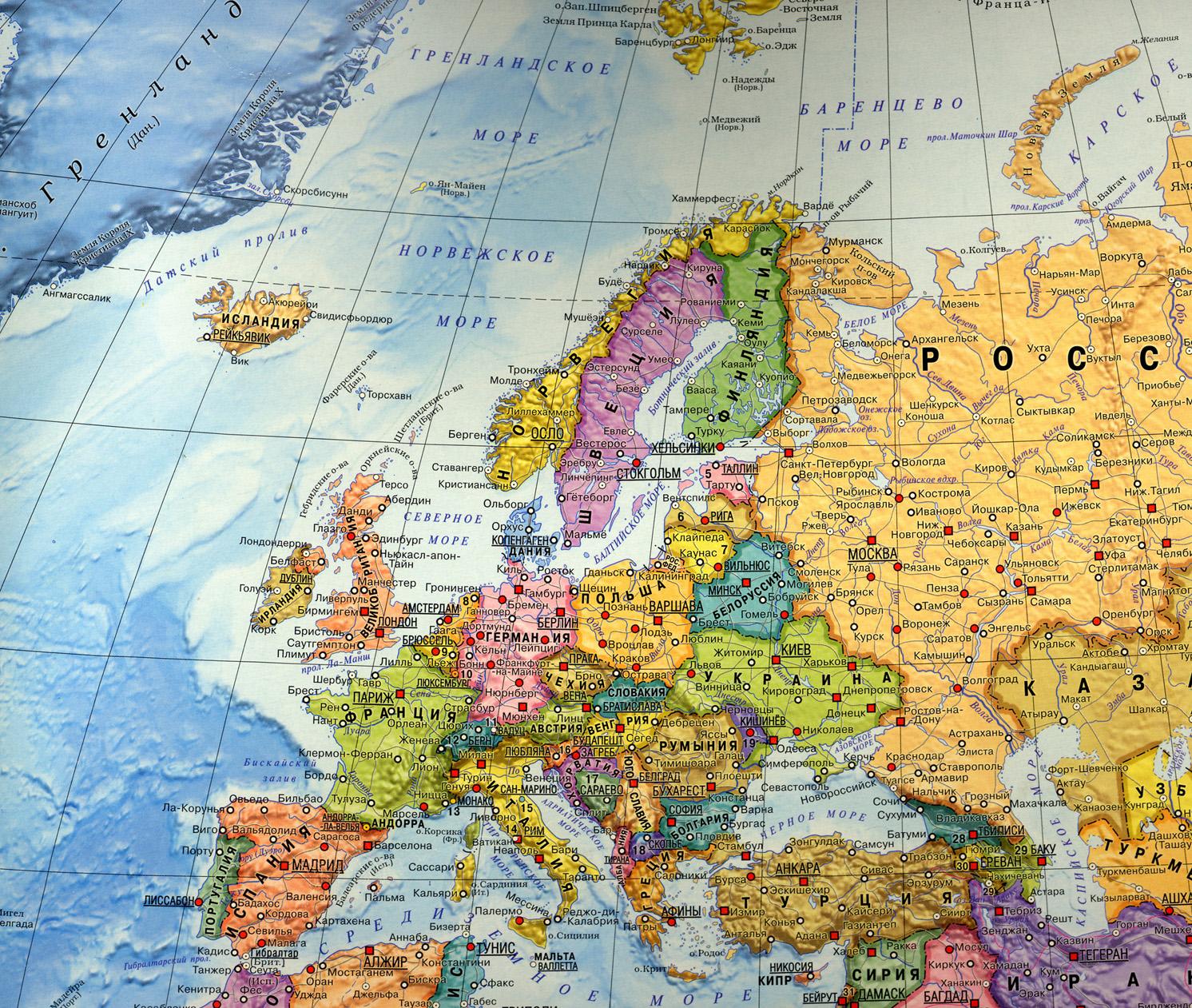 физическая карта зарубежной европы фото